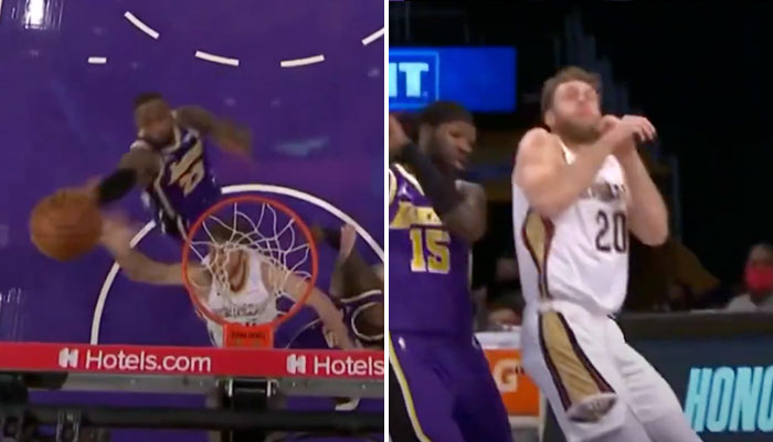 LeBron plante un monstrueux dunk, le banc s'enflamme ! NBA