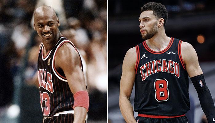 Avec son carton en 1ère mi-temps face aux Dallas Mavericks, l'arrière des Chicago Bulls, Zach LaVine (droite) a réalisé une performance jamais vue dans la franchise depuis un certain Michael Jordan