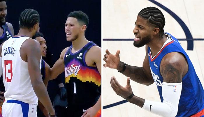La superstar NBA des Los Angeles Clippers, Paul George, réagit à son accrochage avec l'arrière des Phoenix Suns, Devin Booker