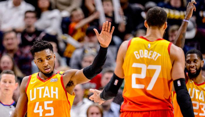 Donovan Mitchell et Rudy Gobert se congratulent NBA