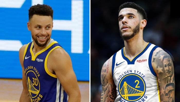 La superstar NBA, Stephen Curry, tout sourire en voyant l'arrière des New Orleans Pelicans, Lonzo Ball, sous les couleurs de son équipe des Golden State Warriors