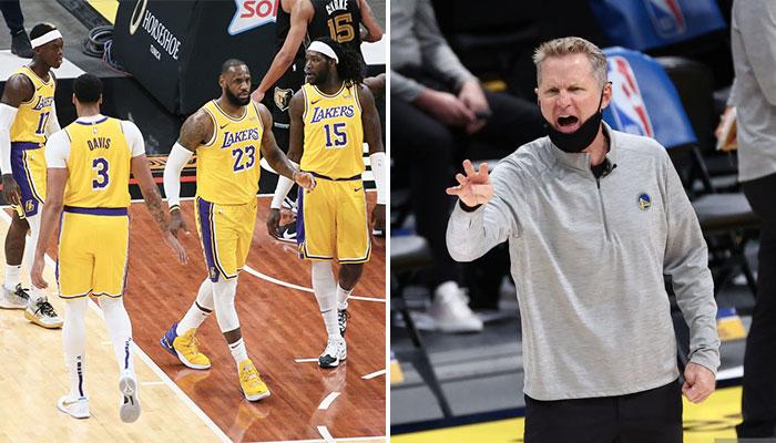 Les joueurs des Los Angeles Lakers, Dennis Schröder, Anthony Davis, LeBron James et Montrezl Harrell, se congratulent pour leur début de saison NBA réussi, mais vont faiblir selon le coach des Golden State Warriors, Steve Kerr