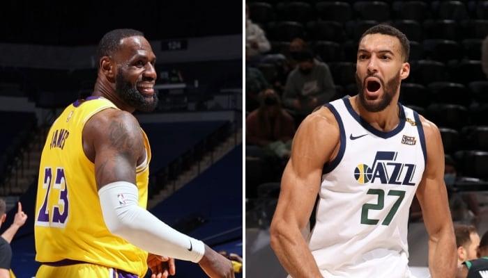 La superstar NBA des Los Angeles Lakers, LeBron James, amusée suite au message d'avertissement envoyé par un de ses coéquipiers en direction du Utah Jazz de Rudy Gobert, agacé