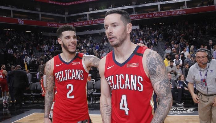 Les deux arrières NBA des New Orleans Pelicans, Lonzo Ball et JJ Redick