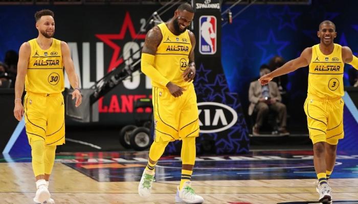 Stephen Curry, Lebron James, et Chris Paul lors du All Star Game NBA 2021