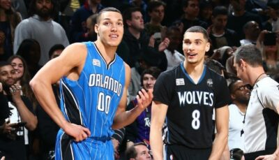 Le joueur du Magic d'Orlando, Aaron Gordon, et l'ancien des Minnesota Timberwolves, Zach LaVine, sourient à l'occasion du Dunk Contest 2016