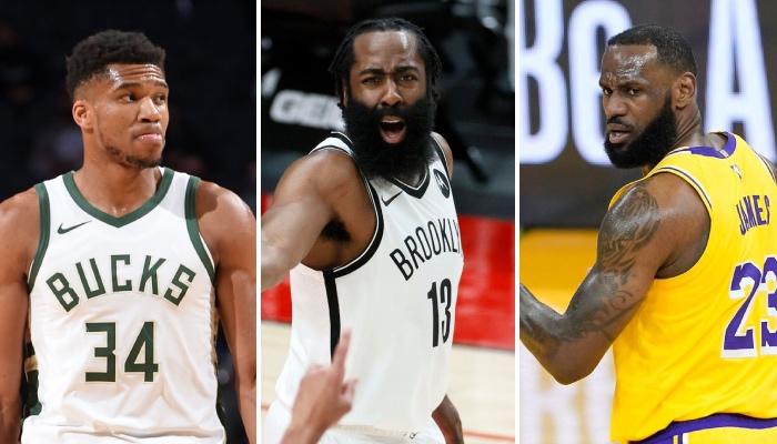 Les superstars NBA Giannis Antetokounmpo (Milwaukee Bucks), James Harden (Brooklyn Nets) et LeBron James (Los Angeles Lakers) incrédules suite à la dernière déclaration de Charles Barkley à leur sujet