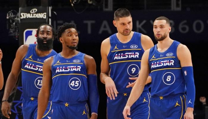 Les superstars NBA James Harden, Donovan Mitchell, Nikola Vucevic et Zach LaVine lors du All-Star Game 2021
