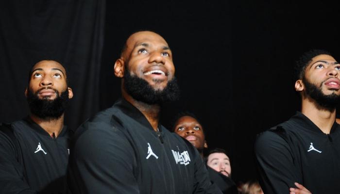 Les stars NBA Andre Drummond, LeBron James et Anthony Davis lors du All-Star Game 2018