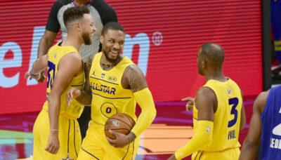 LeBron réagit à l'incroyable séquence entre Lillard et Curry