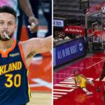 NBA – En déséquilibre, Steph Curry plante un layup venu d'ailleurs !
