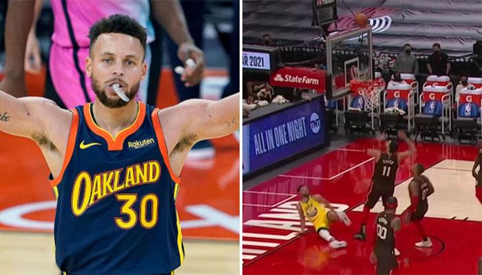 En déséquilibre, Steph Curry plante un layup venu d'ailleurs ! NBA