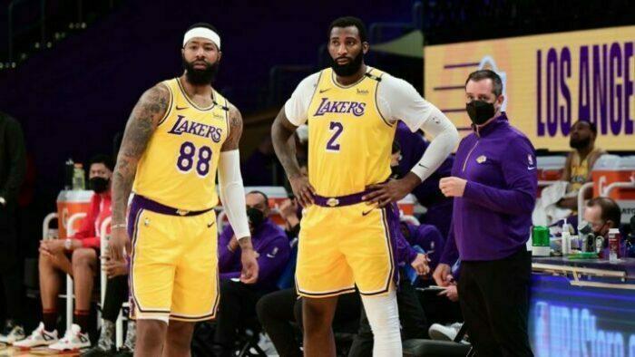Andre Drummond et Anthony Davis sous le maillot des Lakers en NBA