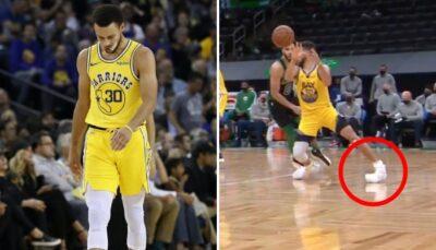 Stephen Curry a été touché à la cheville ce samedi face aux Celtics