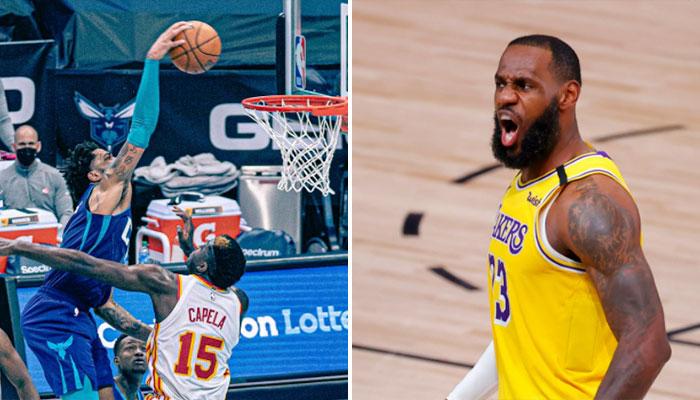 Même LeBron réagit à l'énorme poster de Miles Bridges ! NBA