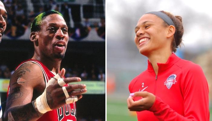 La légende NBA des Chicago Bulls, Dennis Rodman, a fait l'objet d'un tacle appuyé de sa fille, Trinity, qui a réussi ses débuts de footballeuse professionnelle sous les couleurs du Washington Spirit