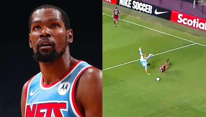 Kevin Durant NBA réagit à l'énorme tacle au foot