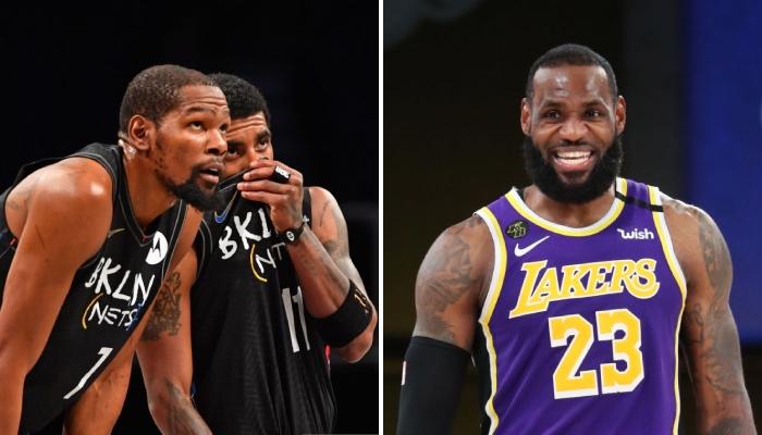 Les deux superstars NBA des Brooklyn Nets, Kevin Durant et Kyrie Irving, abattus suite à la défaite concédée face aux Los Angeles Lakers, pourtant privés de LeBron James