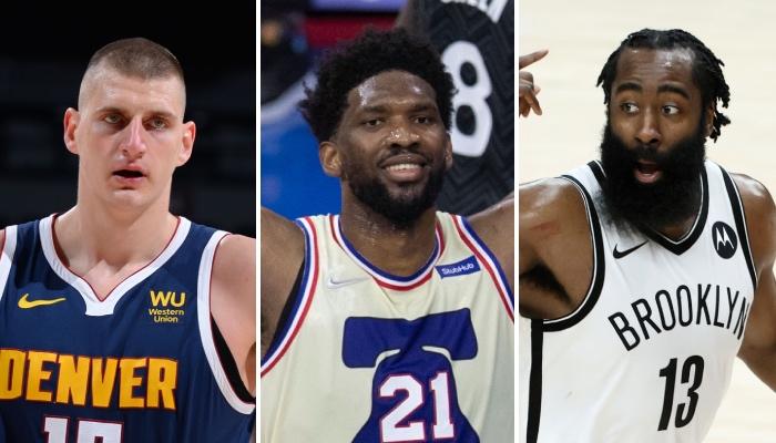 Les superstars NBA Nikola Jokic, Joel Embiid et James Harden apparaissent à l'heure actuelle comme les 3 principaux favoris pour le titre de MVP 2021