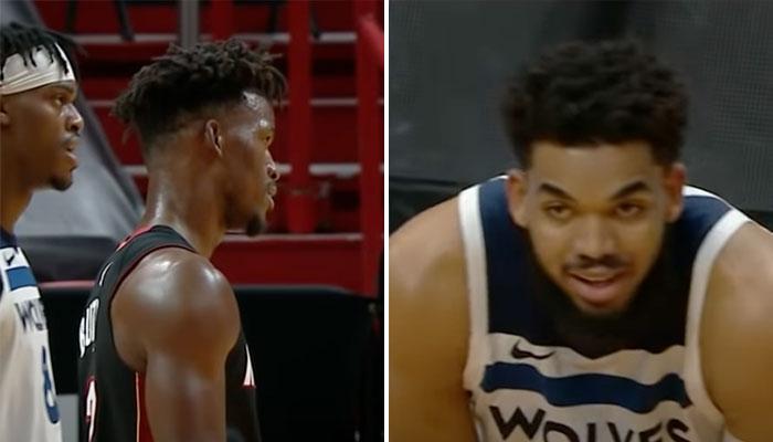 La séquence très tendue entre Jimmy Butler et KAT cette nuit NBA