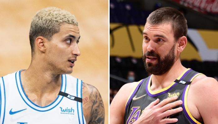 L'intérieur NBA des Los Angeles Lakers, Marc Gasol (droite), a réagi aux propos élogieux de son coéquipier, l'ailier Kyle Kuzma (gauche)