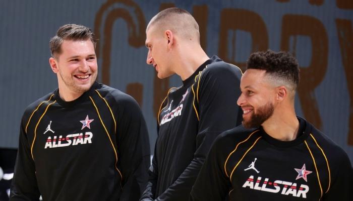 Les superstars NBA Luka Doncic, Nikola Jokic et Stephen Curry à l'occasion du All-Star Game 2021
