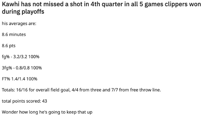 NBA Les stats de Kawhi