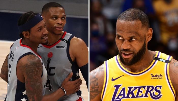 Les stars NBA des Washington Wizards, Bradley Beal et Russell Westbrook, se congratulent après la victoire obtenue lors du Game 4 face aux Philadelphia 76ers, rendue possible par une technique popularisée par le leader des Los Angeles Lakers, LeBron James