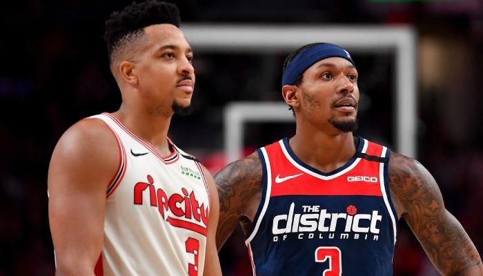 L'arrière NBA des Portland Trail Blazers, CJ McCollum, ici aux côtés de la superstar des Washington Wizards, Bradley Beal, s'est agacé devant les rumeurs de trade dont il fait l'objet