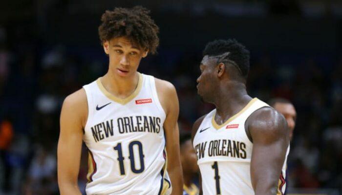 Jaxson Hayes et Zion Williamson des Pelicans