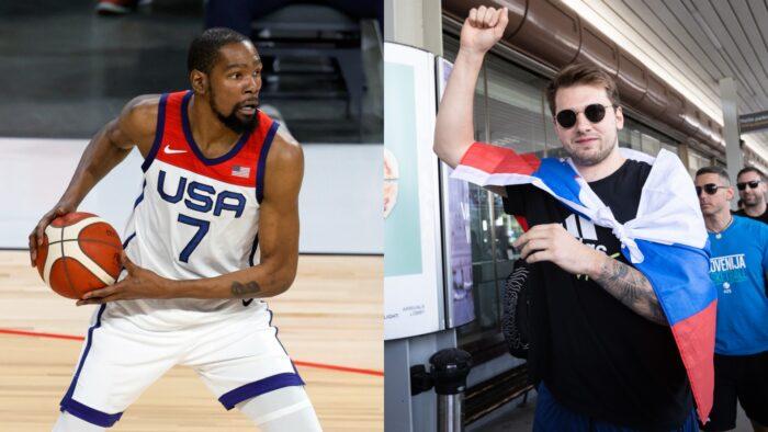 Kevin Durant de Team USA et le Slovène Luka Doncic