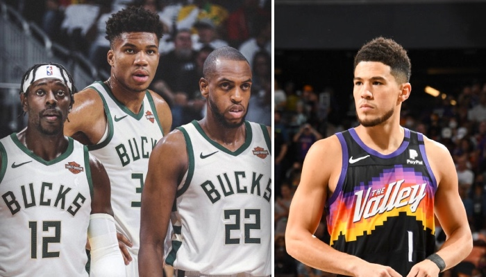 Le Big Three des Milwaukee Bucks, composé de Jrue Holiday, Giannis Antetokounmpo et Khris Middleton, observe leur adversaire lors des Finales NBA 2021, Devin Booker, arrière des Phoenix Suns