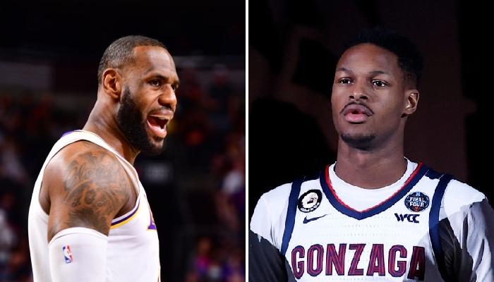 La superstar NBA des Los Angeles Lakers, LeBron James, heureux suite à la signature du prospect français issu de Gonzaga, Joel Ayayi, dans la franchise
