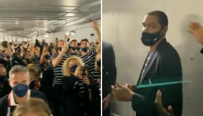 Cible d'une surprise du contingent américain aux Jeux olympiques de Tokyo, la star des Brooklyn Nets, Kevin Durant, n'a pas vraiment apprécié le geste
