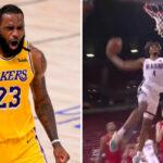 NBA – Bluffé, LeBron réagit à l'énorme dunk du rookie de Portland !