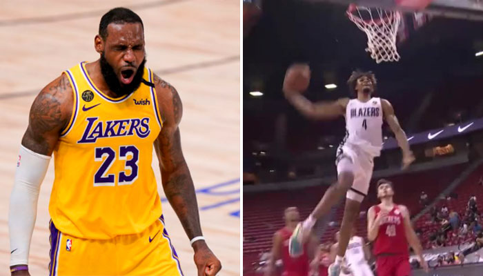 Bluffé, LeBron réagit à l'énorme dunk du rookie de Portland ! NBA