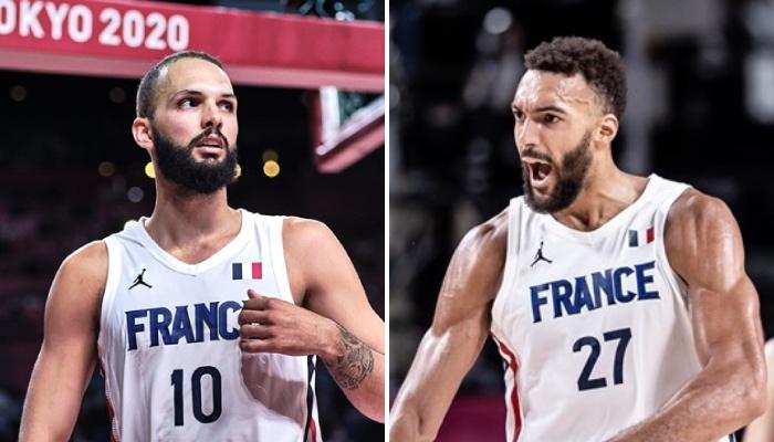 Les stars NBA Evan Fournier et Rudy Gobert, ici sous les couleurs de l'équipe de France, n'ont pas été désignées comme meilleurs joueurs du tournoi pour leur pays par un média US