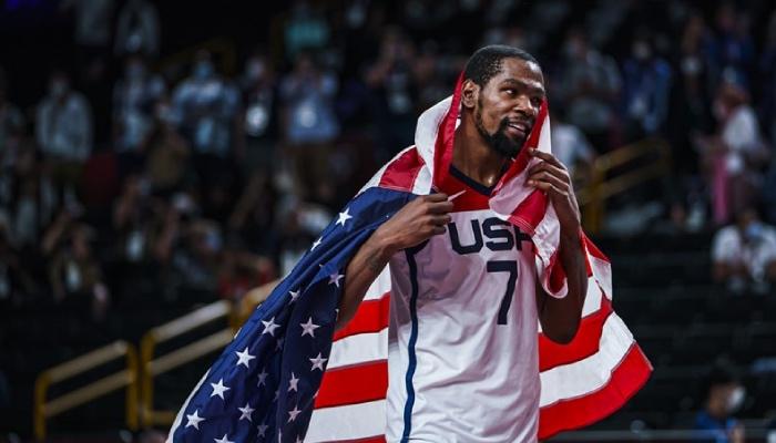 La superstar NBA des Brooklyn Nets, Kevin Durant, ici sous les couleurs de Team USA, vient d'être nommé MVP du tournoi olympique de Tokyo 2020