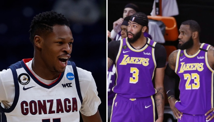 La jeune arrière français des Los Angeles Lakers, Joel Ayayi, ici sous les couleurs de Gonzaga, a effectué un gros sacrifice pour rejoindre Anthony Davis et LeBron James dans la franchise