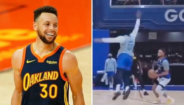 NBA Steph Curry s'amuse à l'entraînement